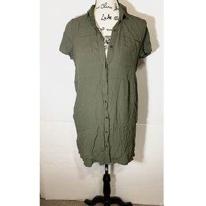 Lulu's Button Down T-Shirt Dress Collared